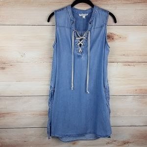 Beach lunch lounge Chambray semi-fitted Dress S